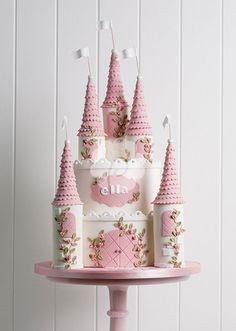 Professional princess castle cake--also white fondant base. SUCH a sweet cake! Castle Birthday Cakes, Birthday Cake Girls, Princess Birthday Cakes, Princess Castle Cakes, Princess Party, Princess Theme Cake, Pink Princess Cakes, Vintage Birthday Cakes, Princess Cupcakes