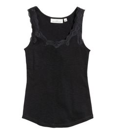 Tank Top with Lace | Black | Ladies | H&M US