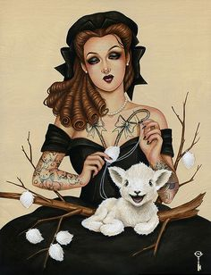 As a Shepherdess Should by Glenn Arthur for the Forever Fabled exhibition at Thinkspace gallery (June 1 - 29, 2013) Acrylic on wood panel