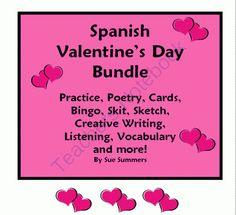 spanish valentine 39 s day poem teacher to student mini card spanish holidays spanish valentine. Black Bedroom Furniture Sets. Home Design Ideas