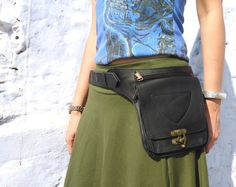 Utility Belt Leather Belt Bag Hip Belt Fanny Pack Waist Bag in Black-HB22C on Etsy, $95.00