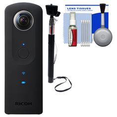 """Ricoh Theta S 360-Degree Spherical Digital Camera (Black) with Selfie Stick + Kit. KIT INCLUDES 3 PRODUCTS -- All BRAND NEW Items with all Manufacturer-supplied Accessories + Full USA Warranties:. [1] Ricoh Theta S 360-Degree Spherical Digital Camera (Black) +. [2] Sunpak 43"""" Wired Selfie Wand +. [3] PD 5pc Complete Cleaning Kit."""