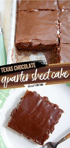 Serve this small Texas chocolate sheet cake when you're having only a few guests over! This holiday baking recipe lets you have just 6 generous slices. You'll want this quarter sheet cake as a Thanksgiving dessert!
