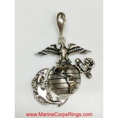 "1.25"" Tall USMC Eagle Globe and Anchor Pendant Solid Sterling"
