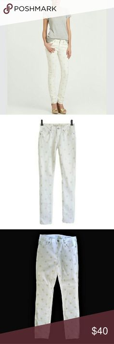 Marc By Marc Jacobs skinny white polka dot jeans **These qualify for Discount shipping!  Versatile yet unique. Standard Supply rolled slim workwear. Slim cut white skinny jeans with light tan embroidered polka dots. They allow for stretch. Worn once/ washed once per instructions. They haven't been broken in yet and appear new. Mid-rise waistline, 4 pockets and slim pant legs. Retail $230. Size 29 / 4.  Waist-30. Hips - 36. Rise - 9. Inseam - 32. 90% cotton / 10% polyester. Color neutral…