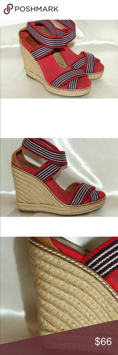 38b245d8b Tory Burch elastic straps espadrille wedge sandal Style: Adonis, great  condition, red/