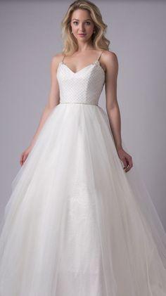 Beaded Spaghetti Strap Tulle Ballgown Wedding Dress