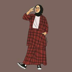 """""""Be happy with what you have. Be excited about what you want. Fashion Model Drawing, Fashion Design Drawings, Cover Wattpad, Polo Lacoste, Sarra Art, Hijab Drawing, Islamic Cartoon, Anime Muslim, Hijab Cartoon"""