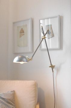 O.C. White Style Industrial Lamp - EXTRA Versatile - Articulating Boom Wall Light, Brass and Steel Lamp & Stump Wall Mount, Parabolic Shade