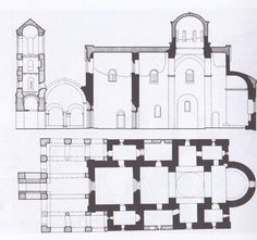 La parte più antica (la navata centrale, e il nartece interno)  si data tra il 1245 (poco dopo l'incoronazione di Uros)e il 1260. La costruzione comprende Abside con Protaton e Diaconicon, zona centrale con cantorie ai lati, e la campata occidentale, a cui furono aggiunte a fine secolo due cappelle e il nartece. Fondamentale, nel determinare analogie con il romanico del litorale, è il fatto che, nel trecento, tutti gli spazi di cui sopra furonoriuniti sotto un unico tetto Serbian, Dubrovnik, Floor Plans, Western World, Serbian Language, Floor Plan Drawing, House Floor Plans
