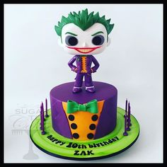 Birthday Cake With Candles Baking Ideas Batman Birthday, Batman Party, Birthday Cake Girls, Birthday Wishes, Birthday Ideas, Joker Cake, Le Joker Batman, Tumblr Birthday, Homemade Birthday Cakes