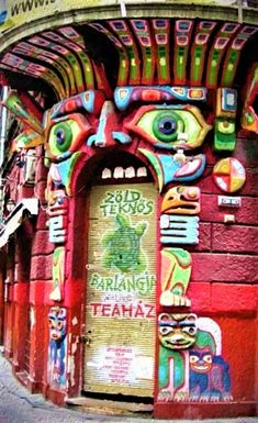 The unique doorway of the Green Tortoise Teahouse in Budapest, Hungary