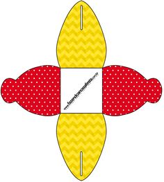 Caixa Poá Vermelho e Listras Amarelo: