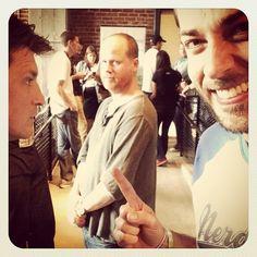 Nathan Fillion, Joss Whedon and Zachary Levi at Nerd HQ. #Geekgasm