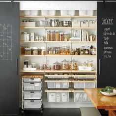 Available exclusively at The Container Store, shop our bestselling Elfa Kitchen & Pantry shelving & storage solutions. Shop the site, design online, or meet with a design expert in-store today! Pantry Shelving, Pantry Storage, Pantry Organization, Kitchen Shelves, Open Shelving, Storage Containers, Organizing Tips, Pantry Diy, Recycling Containers