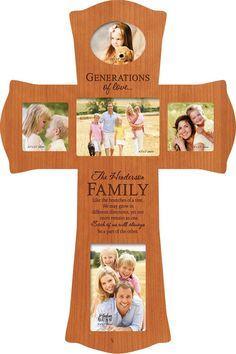 "This personalized cross is a unique way of blessing your home. With space for five photos, this makes a great gift for a wedding, communion, confirmation or a housewarming. Personalize with your family name and date. To provide your personalization information, please send an email to ""stylist@shoptiques.com"". All custom items are final sale.     Weight: 2.6 lbs Depth: 0.75"" Width: 12.25"" Height: 17.5""   Cherry Photo Cross by P Graham Dunn. Home & Gifts - Home Decor - Wall Art Kentucky"