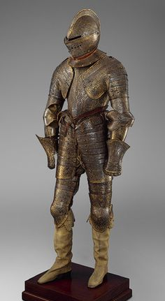Armor for Heavy Cavalry, ca. 1600  French  Steel, etched and gilt; leather