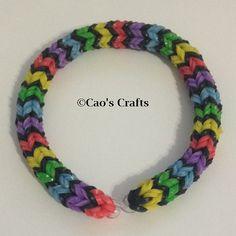 Loom Bracelet - Quadfish Rainbow and White (similar to Hexafish) on Etsy, $3.00