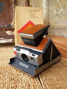 SUPER FLY VINTAGE Polaroid Sx-70 Land Camera /// In Original Box /// Brown Leather and Chrome Polaroid
