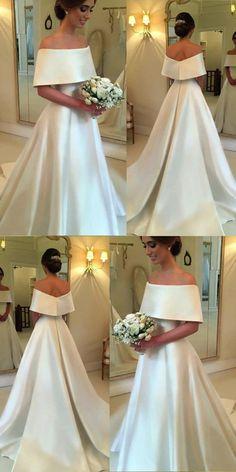 Romantic A-line Off The Shoulder Satin Wedding Dresses For Bride 2018