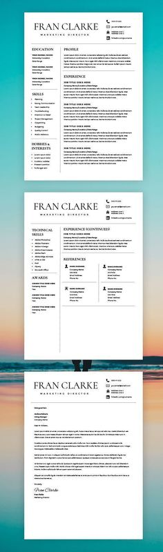 Resume Template with Headshot Photo + Cover Letter, 1/2 Page Word