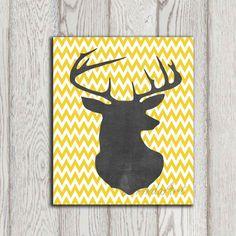 Deer head printable Yellow chevron deer print by DorindaArt, $5.00
