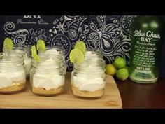 Kenny Chesney's rum brand, Blue Chair Bay, has a key lime cream flavor that'll knock your socks off. In a fruity drink it's fantastic, but in a key lime mason jar rum-filled cheesecake? Mason Jar Cheesecake, Lime Cheesecake, Key Lime Rum Cream, Rum Recipes, Margarita Recipes, Pudding Shots, Fruity Drinks, Delicious Desserts, Margaritas