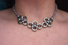 Delicate Chainmaille Choker Necklace - Mint Green - Chainmail - Chainmaille Jewelry. $28.00, via Etsy.