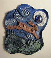 Whimsical polymer clay scene. The Dream Hare by TheLittleWren