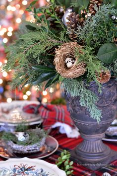 A Christmas table for two, I set by the tree, The lights all aglow, the twinkle to see. Tartans with red join birds of a feather, Dishes, greenery and plaid, have all flocked together. Winter Greet...