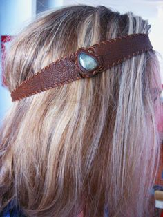 Chocolate coloured leather headband with a Green Aventurine stone. Plain and simple