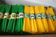 John Deere napkin rings and utensils