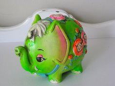 Vintage Piggy Bank - Neon Green Elephant - 1968 - Holiday Fair - Japan - Retro Piggy Bank