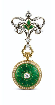 A YELLOW GOLD, ENAMEL AND DIAMOND-SET OPEN-FACED KEYLESS FOB WATCH - CIRCA 1905
