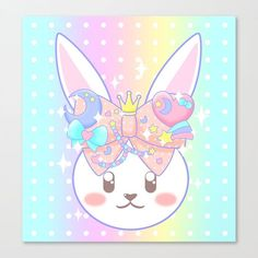 Fairy Kei Decora Bunny. A cute white rabbit face with a pastel pink bow covered in beads and charms between it's ears. Get it on prints and products on Redbubble and Society6.