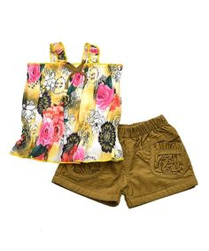 Yellow & Khaki Floral Tank & Shorts Set - Toddler & Girls