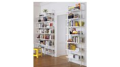 "stairway white 96"" wall mounted bookcase - beside powder room door"
