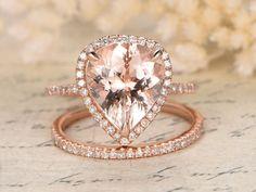 10x12mm Pear Cut Morganite Engagement Ring Set by kilarjewelry