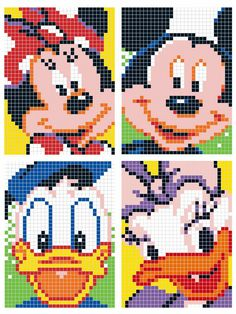 mouse crafts Mickey Mouse and Donald Duck Pixel Disney Hama Disney, Hama Beads Disney, Disney Disney, Graph Crochet, Pixel Crochet, Cross Stitching, Cross Stitch Embroidery, Mickey Mouse Quilt, Modele Pixel Art