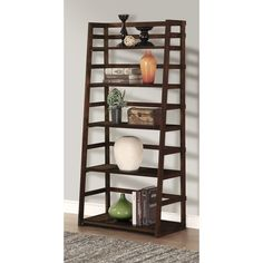 Simpli Home Acadian Solid Wood 63 in. x 30 in. Rustic Ladder Shelf Bookcase in Tobacco Brown - The Home Depot Decor, Leaning Bookcase, Bookcase, Ladder Shelf, Furniture, Shelves, Simpli Home, Home Decor, Living Room Furniture