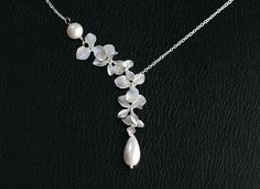 Orchid flower,Pearl,sterling silver necklace,bridesmaid gifts,Wedding jewelry,flower girl,anniversary,flower necklace