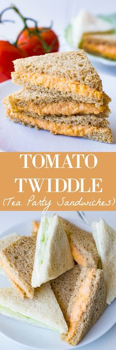 This Tomato Twiddle recipe is perfect as a tea party sandwich. Easy to make, o… This Tomato Twiddle recipe is perfect as a tea party [. Mini Sandwiches, Finger Sandwiches, Cucumber Sandwiches, Tea Recipes, Cooking Recipes, Picnic Recipes, Cooking Tips, Le Diner, Tapas