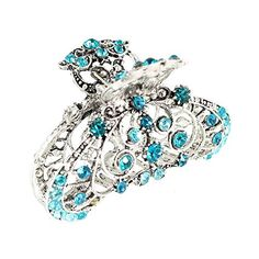 GSM Accessories Womens Vintage Rhinestone Fortune Leaf Medium Alloy Metal Hair Claw HC207Blue >>> See this great product.(This is an Amazon affiliate link and I receive a commission for the sales)