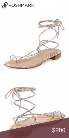 """Stuart Weitzman Nieta Lace-Up Flat Sandal in great condition, comes with box. no longer available! color is: Bisque Prism Nappa. size 8.5B. striped suede flat. 0.3"""" flat stacked heel. Toe ring strap. Crisscross vamp. Self-tie ankle wrap. Leather lining and sole. """"Nieta"""" is made in Spain. Stuart Weitzman Shoes"""