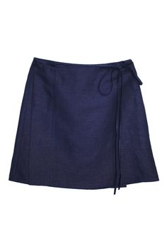 Navy is black's younger, avant-garde, chic cousin. The wrap skirt is the  same to the classic skater style. Combine the two to create this easy to  wear skirt that will carry you through season after season. Pair with a  white blouse and strappy leather heels.By Side Party     * Materials: 66%