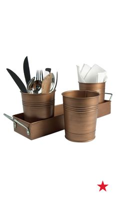 Bring some style to your picnic blanket with Artland Oasis' antique copper finish 4-pc. picnic caddy set.