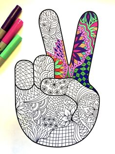 Peace Hand Sign PDF Zentangle Coloring Page