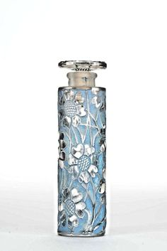 French Art Deco Tall Cylindrical Glass Perfume Bottle(LES CING FLEURS by FORVIL) #ArtDeco