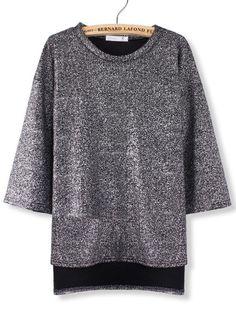 Casual Women Raglan Sleeve Shinny Slit Hem Sweater - Gchoic.com