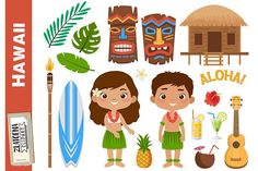 by Zlatoena Cliparts Tropical Leaves, Tropical Flowers, Ukulele, Illustrations, Graphic Illustration, Torches Tiki, Tiki Maske, Cocktails Clipart, Pineapple Clipart
